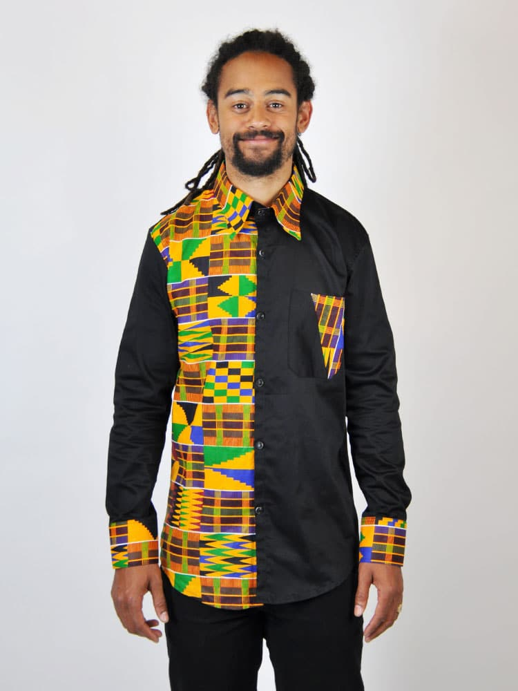 0ef5654a6b3 Black African Kente Shirt - African Clothing Store